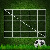 Blank Soccer Ball ( Football ) 4x4 Table score on grass field — Stock Photo