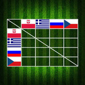 Soccer Ball ( Football ) Table score ,euro 2012 group A — Stock Photo