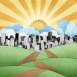 Road to the city recycled papercraft background — Stock Photo #7984127