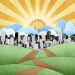 Road to the city recycled papercraft background — Stock Photo