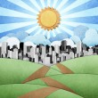 Royalty-Free Stock Photo: Road to the city recycled papercraft background