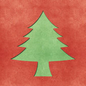 Christmas tree recycled papercraft background — Stock Photo