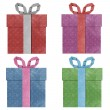 Gift boxes with ribbon recycled papercraft . — Stock Photo #8444279