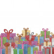 Gift boxes with ribbon recycled papercraft . — Stock Photo