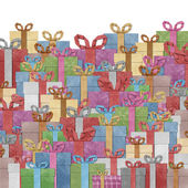 Gift boxes with ribbon recycled papercraft . — 图库照片