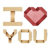 Miluji tě abeceda recyklovaný papír řemesla — Stock fotografie