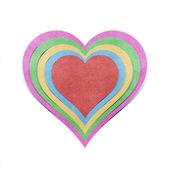 Heart recycled papercraft on white background — Стоковое фото