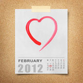 Rote aquarell herz auf kalender 2012-briefpapier — Stockfoto