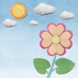 Flower and sky  recycled  papercraft  background — Zdjęcie stockowe