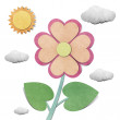 Flower and sky  recycled  papercraft  background — Stock Photo