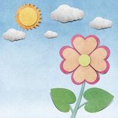 Flor e céu reciclado fundo papercraft — Foto Stock