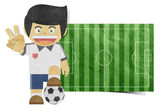 Paper boy ( football field ) recycled paper craft on white bac — Stockfoto