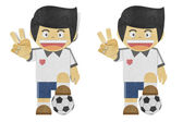 Paper boy ( football player ) recycled papercraft on white bac — Stock Photo