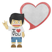 Paper boy and red heart recycled paper craft — Stock Photo