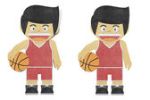 Paperboy ( basketball player ) recycled paper craft — Foto de Stock