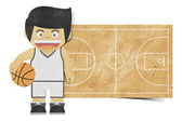 Paper boy ( basketball player ) recycled papercraft — Stock Photo