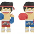 Royalty-Free Stock Photo: Paper boy ( muay thai kick Boxer ) recycled papercraft
