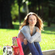 Young woman with bags — Stock Photo