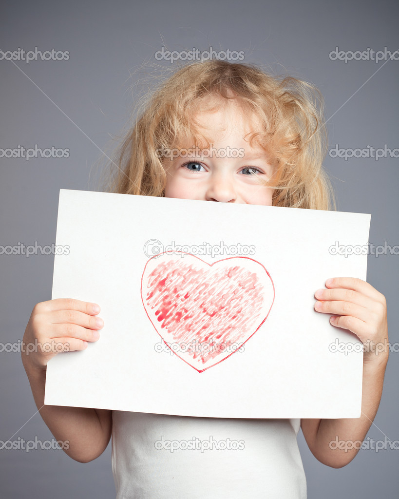 Drawn heart in baby hands. Valentine day concept — Stock Photo #8139848