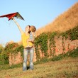 flying a kite — Stock Photo