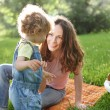 Woman with child having fun — Stock Photo