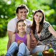 Stock Photo: Family having picnic outdoors