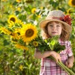 Stock Photo: Child with bunch of sunflowers