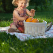 Stock Photo: Child having picnic
