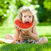 Bambino con pic-nic nel parco — Foto Stock
