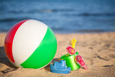 Children`s toys at the beach — Stock Photo