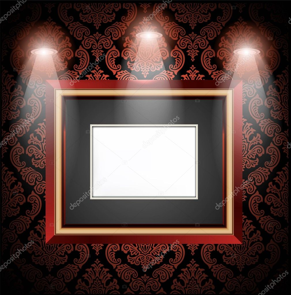 Gallery Interior with empty frames on red wall — Stock Vector #8474985