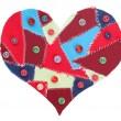 Fabric scraps heart — Stock Photo