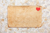 Grunge paper card with heart — Stock Photo