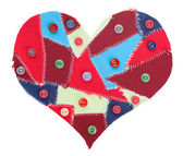 Fabric scraps heart — Stock Photo