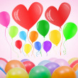 Valentines day or birthday card with balloons — Stock Photo