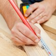 Carpenter or joiner measuring wood — Foto Stock