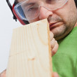 Stock Photo: Woodwork - checking linearity