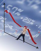 Businessman hit by recession concept — Stock Photo