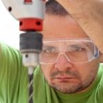 Man drilling wood — Stock Photo