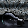 Old incandescent electric bulb with idea concept words — Stock Photo #9374716