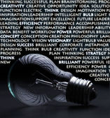 Old incandescent electric bulb with idea concept words — Stock Photo
