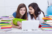 Girls in college study together — Stock Photo