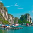 View of floating village in Halong Bay - Stock Photo