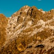 Mount Resegone and moon at sunset - Lombardy Italy - Stock Photo