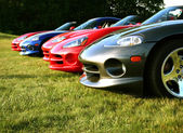 Dodge Vipers in row — Stock Photo