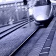 High speed bullet train in Japan in purple color tone — Stock Photo #7986216