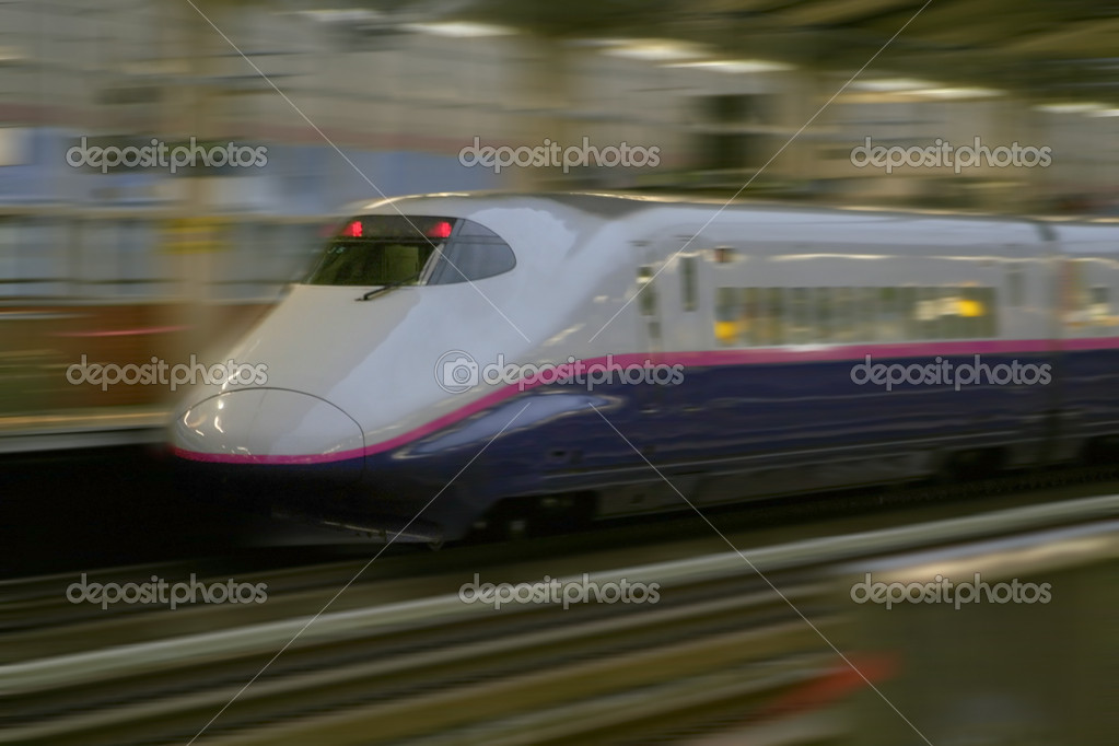 Shinkansen - Fast bullet train operates between cities in Japan  Stock Photo #7985773