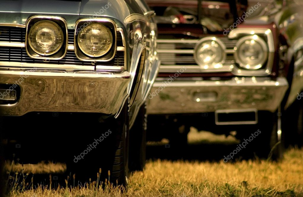 Beautiful american muscle cars in sepia color — Foto de Stock   #7988171