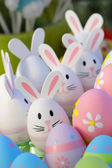 Easter eggs and bunny toys — Stock Photo