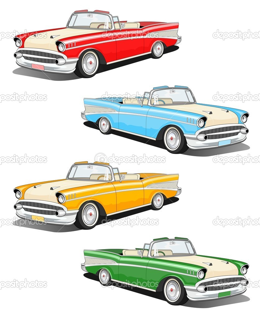 Set of four classic car illustration — Stock Photo #8565350